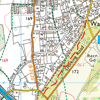 map of Dorking Road path